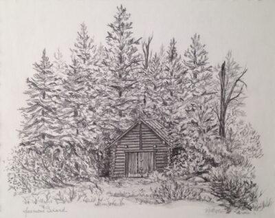 La cachée, dessin de graphite et encadré de fibre de papier monté sur panneau de bois